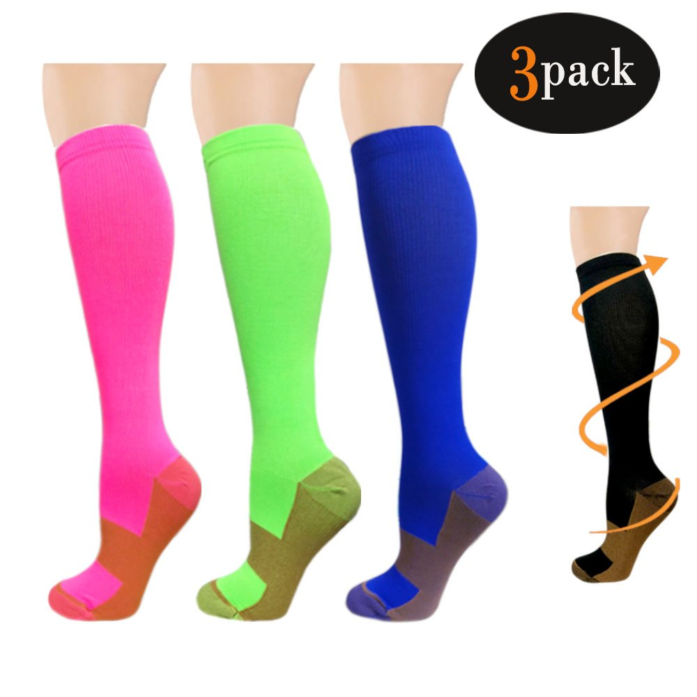 Compression Socks,(3 pairs) Compression Sock for Women & Men - Best For Running, Athletic Sports, Crossfit, Flight Travel - Suits Nurses, Maternity Pregnancy, Shin Splints Nursing(S/M Assort1) 3TLHLX