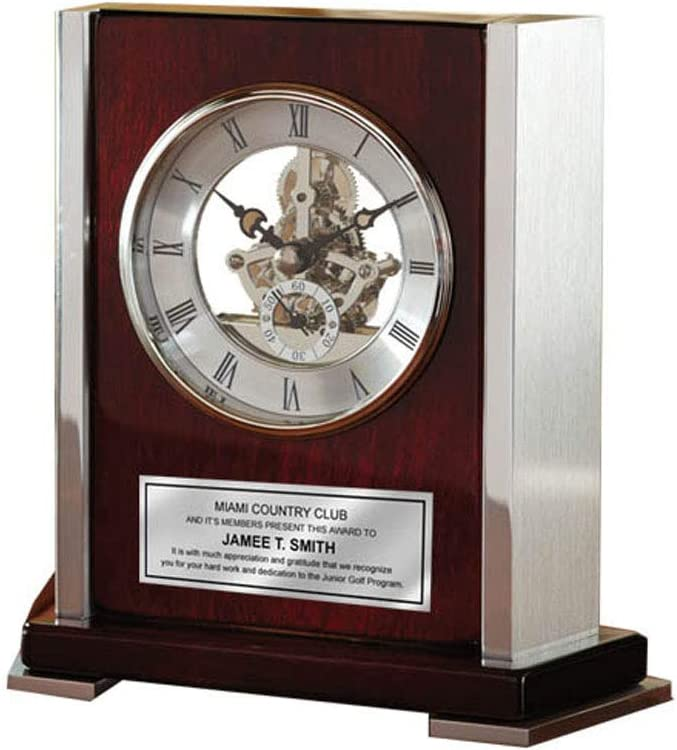 Personalized Engraved Clock Envoy Da Vinci Dial Wood Cherry Desk Clock Silver Side Casing Corporate Recognition Service Award Retirement Gift Employee Business Gift Wedding Anniversary Birthday