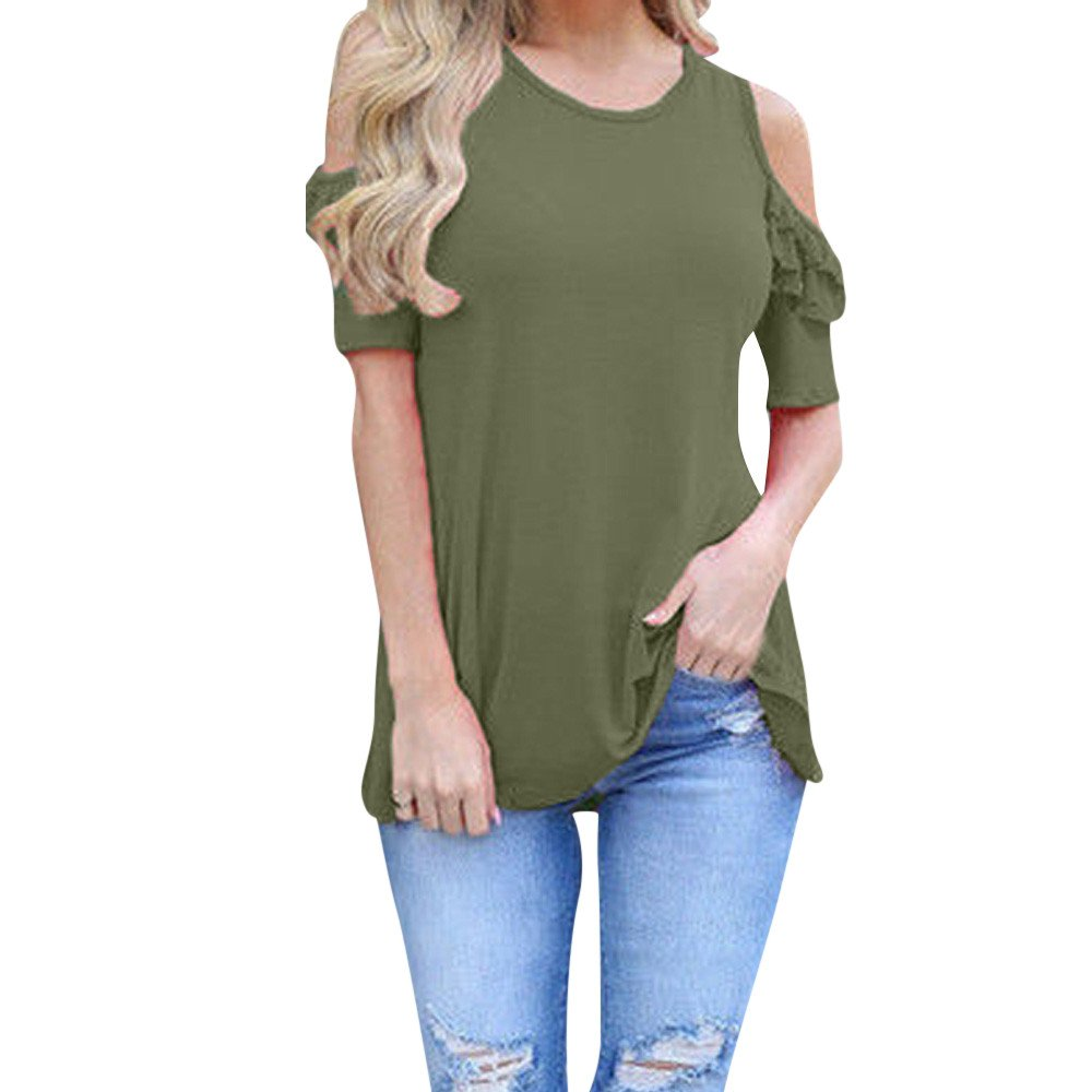Lmx+3f Women Ladies Off Should Short Sleeve Round Neck Loose T-Shirt Blouse Strapless Solid Color Soft Comfy Vest Green