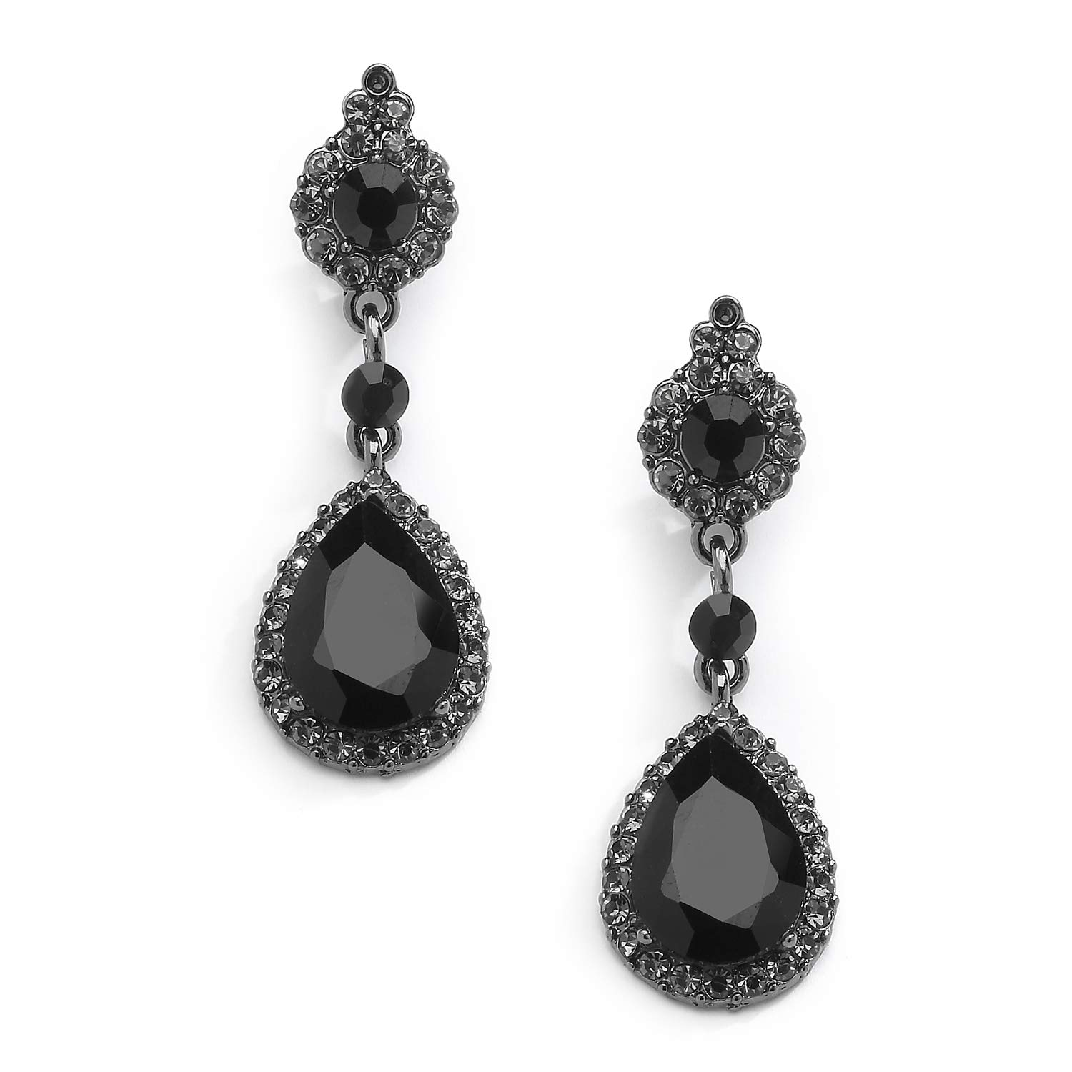 Mariell Jet Black Crystal Clip On with Pave Frames and Teardrop Dangles - for Proms and Wedding Parties by Mariell