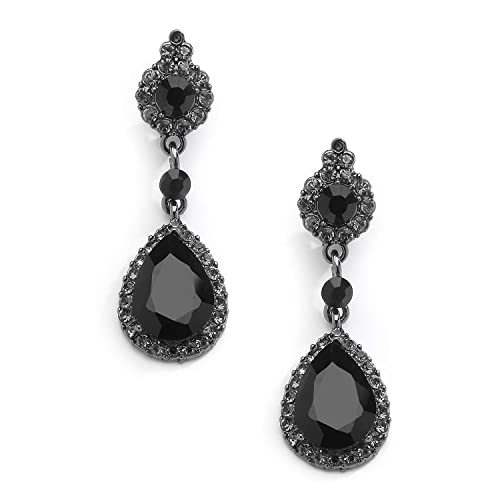 a04b7915d Amazon.com: Mariell Jet Black Crystal Clip On with Pave Frames and Teardrop  Dangles - for Proms and Wedding Parties: Jewelry