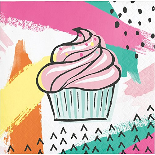 Pack of 192 Multicolored Chic Cupcake Printed Disposable Party Beverage Napkins 5'' by Party Central