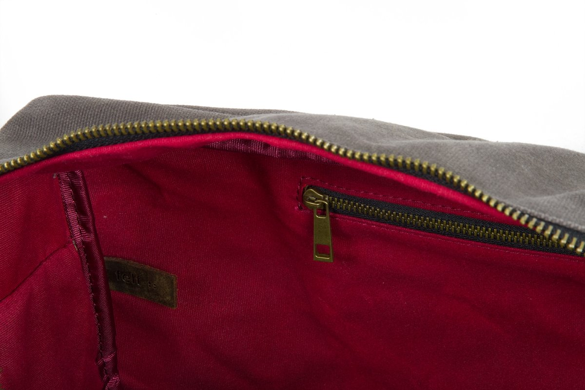 Waxed Cotton Canvas Duffel Bag with Leather Handles | the Whitman Weekender Duffel by FAT FELT by FAT FELT (Image #6)