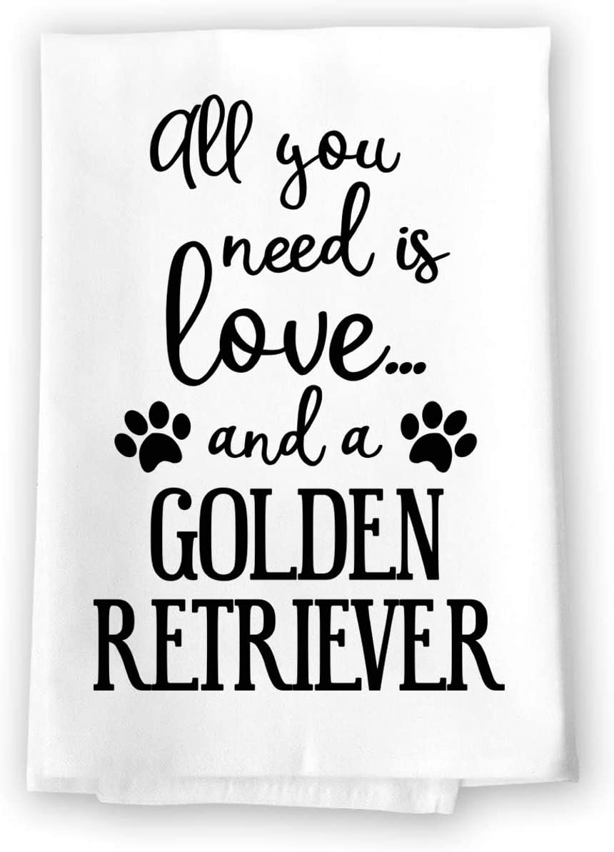 Honey Dew Gifts Funny Towels, All You Need is Love and a Golden Retriever Kitchen Towel, Dish Towel, Kitchen Decor, Multi-Purpose Pet and Dog Lovers Kitchen Towel, 27 inch by 27 inch Towel