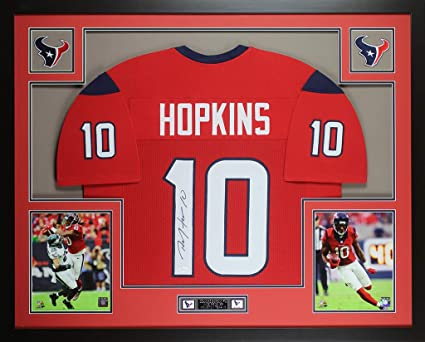 6de9bd8f402 DeAndre Hopkins Autographed Red Houston Texans Jersey - Beautifully Matted  and Framed - Hand Signed By