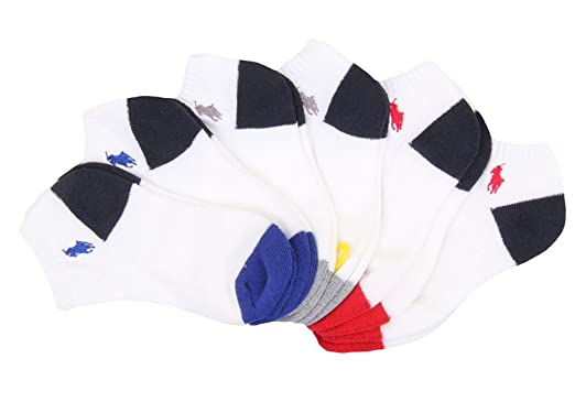 Polo Ralph Lauren Niños 6 Pack Athletic Ped contraste calcetines ...