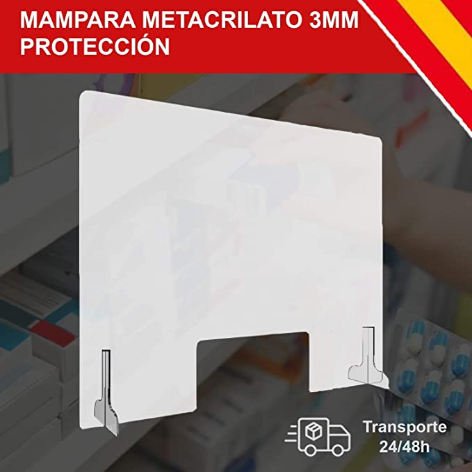 HORO.ES Mampara de Protección Metacrilato Transparante 3MM Grosor con Soporte (80 x 60CM): Amazon.es: Bricolaje y herramientas