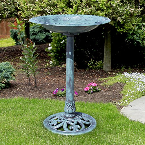 Antique Design Weather and Frost Resistant Resin Pedestal Bird Bath Garden Décor Provide a Decorative Touch To Your Outdoor Living