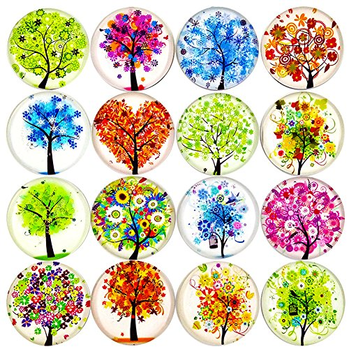 Aligle 16pcs Beautiful Glass Refrigerator Magnets Fridge stickers Funny for Office Cabinets Whiteboards Tree of Life Decorative Photo Abstract (Tree of Life)
