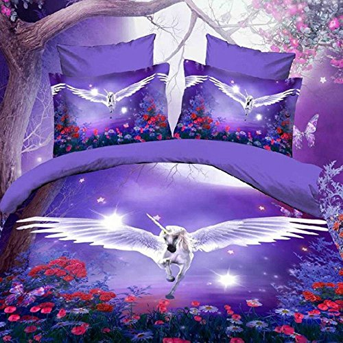 Alicemall 3D Unicorn Bedding Purple Bedding Set Dreamlike Flying Horse with Wings Purple Polyester 3D Bed Set, 4 Pieces, Duvet Cover, Bed Sheet and 2 Pillow Cases (Full) (Horse Bedroom Set)