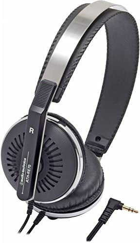 Audio Technica ATH-RE70BK Classic Retro Style On-Ear Headphones, Black
