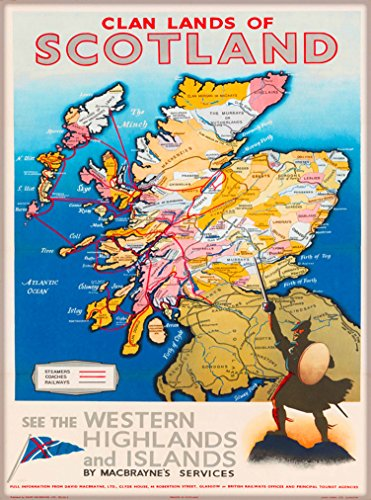 (Clan Lands of Scotland Map See the Western Highlands & Islands United Kingdom Great Britain Vintage Travel Home Collectible Wall Decor Advertisement Art Poster Print. Measures 10 x 13.5 inches.)