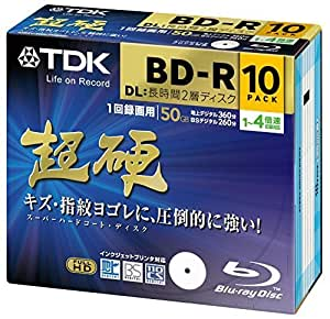 TDK Blu-ray BD-R DL Disk   Super Hard Coating Surface Inkjet Printable 50GB (DL) 4x Speed 10 Pack [Version 2012 Life on Record] by TDK