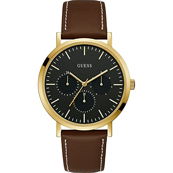 9814e2ba013fc Image Unavailable. Image not available for. Color  Guess Men s Slate 44mm  Brown Leather Band Steel Case Quartz Black Dial Chronograph Watch W1044G1