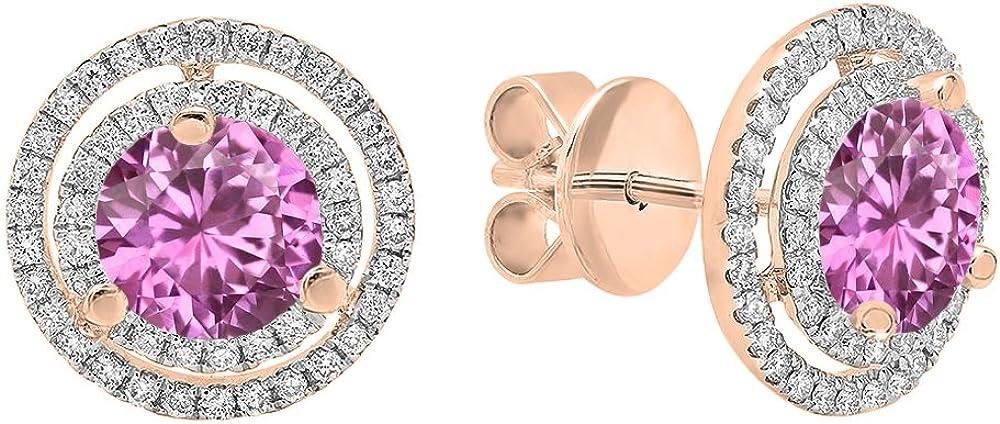 18K Rosa Oro 6mm cada Gemstone y blanco Diamond Ladies doble de Halo Stud Pendientes