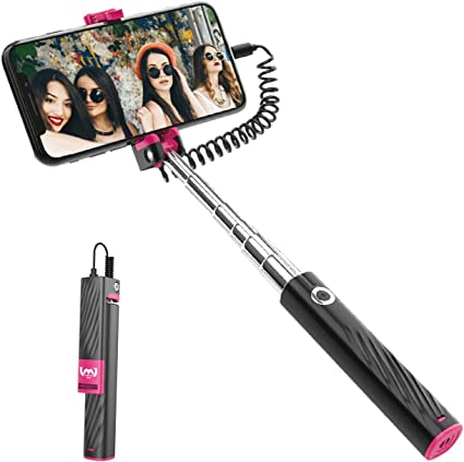 Mini Selfie Stick Cell Phone Selfie Sticks Extendable Wire Selfie Stick for iPhone Android Black