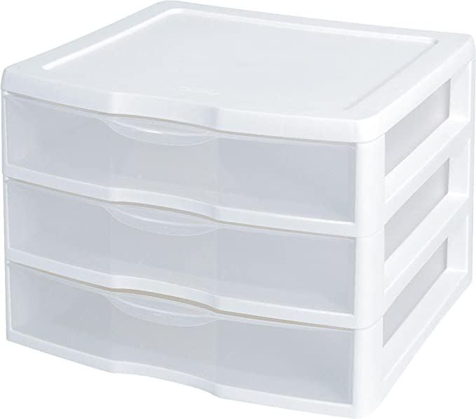 "Sterilite 3-Drawer Organizer - ClearView Wide 2093 (White / Clear) (10.25""H x 14.5""W x 14.25""D)"