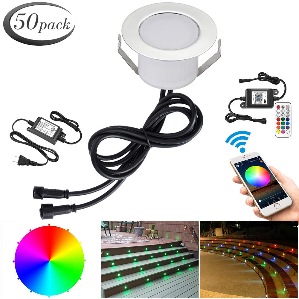 WiFi RGB Deck Lights, FVTLED 50pcs Φ1.85'' WiFi Controller Low Voltage LED Deck Lights Kit Work with Alexa Google Home WiFi Wireless Smart Phone LED Step RGB Lights