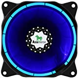 Asiahorse SOLAR ECLIPSE-Ultra Quiet Bearing 120mm DC Led Fan for Computer Cases, Long Life CPU Coolers,blue