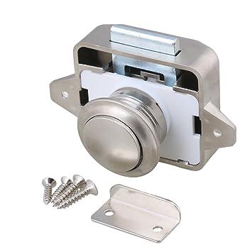 26 mm agujero de apertura Pearl Nickel Keyless botón pomo del pestillo del gabinete para RV / autocaravana Caravana barco armario puerta del gabinete: ...