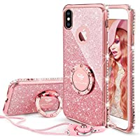 OCYCLONE Apple iPhone X Glitter Phone Case with Ring Stand Shockproof TPU Protective Cover (Rose Gold)