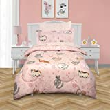 Kidz Mix Sleepy Cats Super Soft Bed in a Twin Bag with Reversible Comforter and Sheet Set, Pink