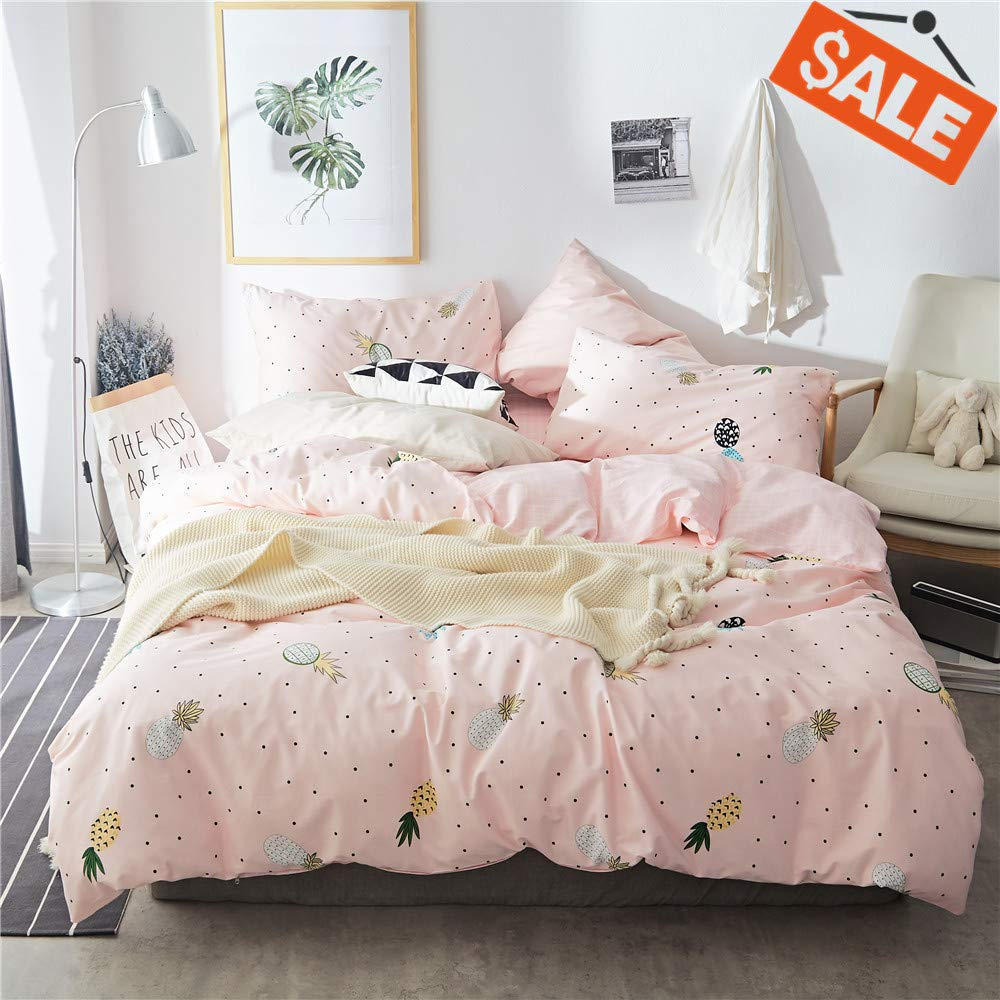 VClife Tropical Pineapple Print Bedding Sets Queen/Full- Pink Grid Geometric Design Duvet Cover Sets for Woman Girls Teen