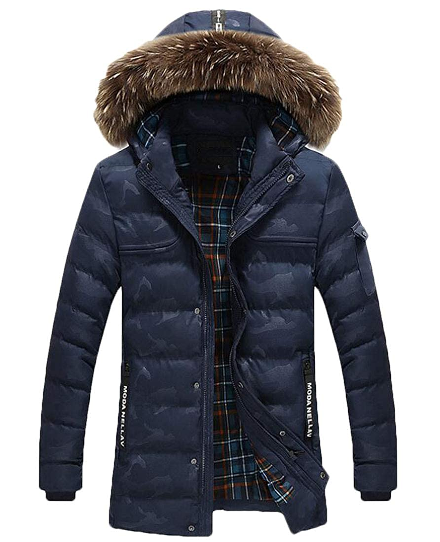 Frieed Mens Faux Fur Hooded Camo Print Thicken Quilted Long Down Jacket