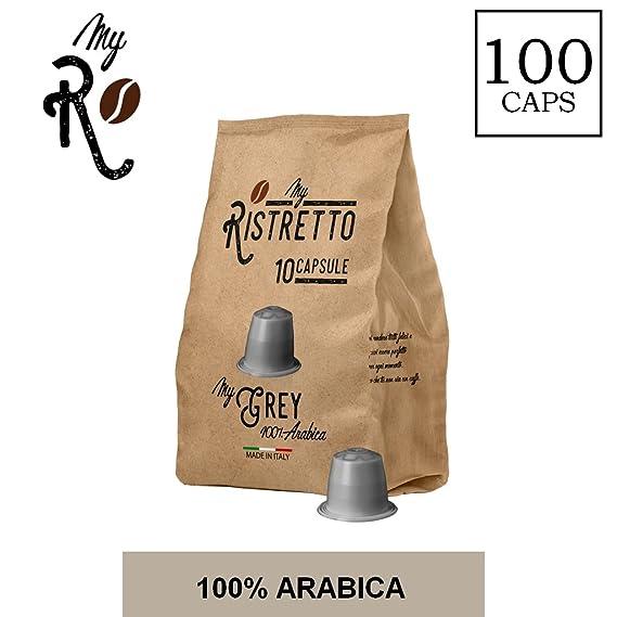 100 Cápsulas de Café compatibles Nespresso - Mezcla MyGrey 100% Arabica - MyRistretto - FRHOME