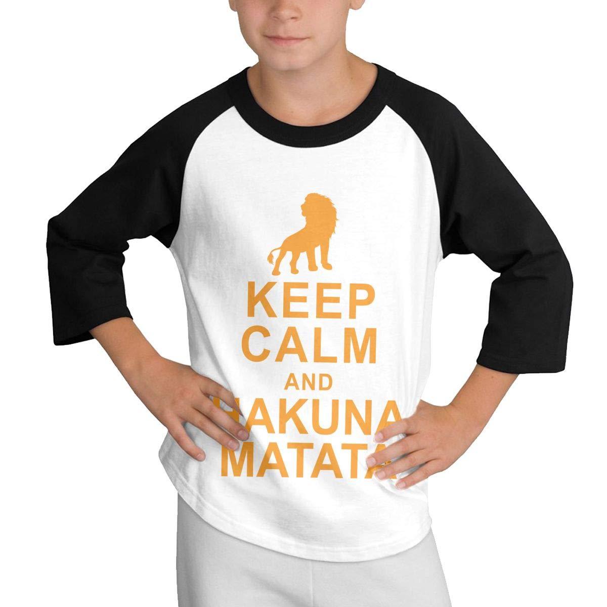 WJGNAA Keep Calm and Hakuna Matata Youths O Neck 3//4 Raglan Sleeve Baseball T Shirt Teenage T-Shirt for Boys Girls