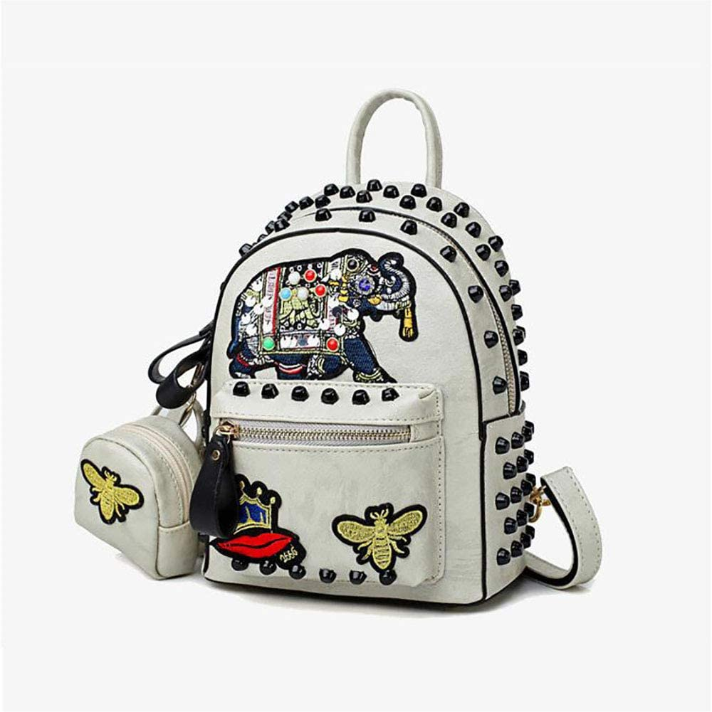 Xinyuan New Leather Womens Bag College Wind Backpack Ladies Two-Piece Embroidery Rivet Shoulder Bag Wild Multi-Function Cross-Package Leisure Learn Shopping