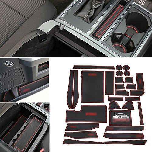 Anti-Dust Interior Cup Mats Door Gate Slot Pad Storage Mats for Ford F150 2015 2016 2017 2018 (29PCS/SET, Red)