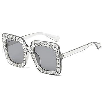 9278f96952e Fheaven Womens Fashion Artificial Diamond Cat Ear Quadrate Big Metal Frame  Brand Classic Sunglasses (G