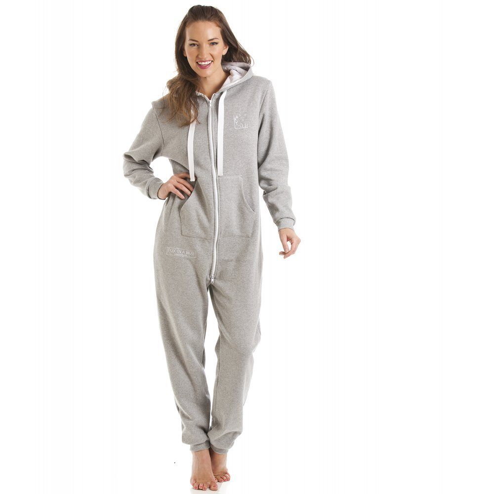 638b658ed30 Amazon.com  Camille Fox In A Box Womens Gray Hooded All In One Pyjama  Onesie  Camille  Clothing