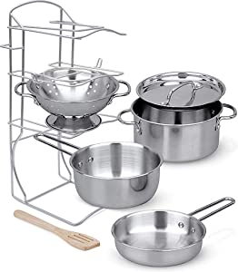 Click N' Play Stainless Steel Cookware Pots and Pans with Pot Rack Organizer and Cooking Utensil Pretend Play Kitchen Set for Kids 7 Pcs. Playset Accessories