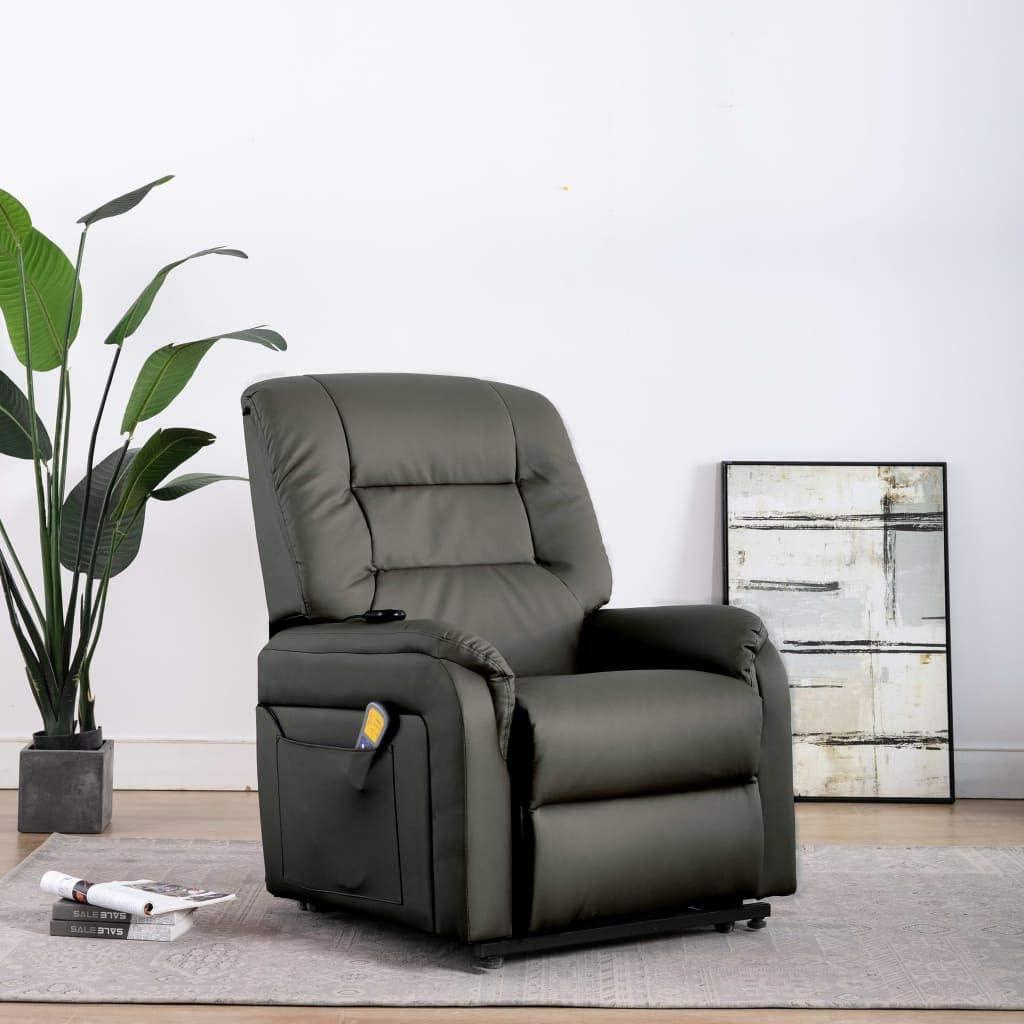 UnfadeMemory Massage TV-Sessel Massagesessel mit Aufstehfunktion Elektrisch Aufstehsessel Liegesessel Kunstlederbezug Fernsehsessel Relaxsessel Taillenheizfunktion Creme