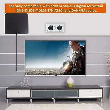 Antenas de TV HD digital 4K/Full HDTV/Antena de interior de 50 millas con amplificador desmontable amplificador de señal y cable coaxial de 16,5 pies para un programa de televisión gratuito: Amazon.es: Electrónica