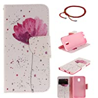 Samsung Galaxy J3 2017 J330 Ultrathin PU Leather Flip Cover Pattern, GOCDLJ Cell Phone Case for Samsung Galaxy J3 2017 J330 Cell Phone Slim Protective Case Anti Scratch Bumper Cover Wallet Fully Protective Build in Stand Function Folio Book Style with Knife Shape Magnetic Holder Cash Pocket ID Card Slots Pouch Soft Silicone Backcover Backside Shell Artificial Sleeve + Chinese Style Red Bracelets Design Purple Orchid