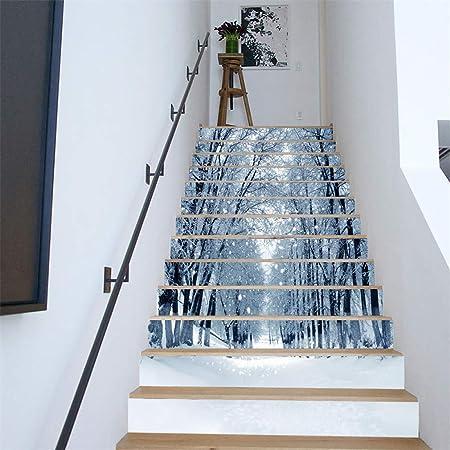 YINshop Etiqueta engomada de la Escalera, Bosque Nieve Vista Impermeable Apliques de Navidad Decorativos para el hogar 13 Piezas 100x18cm: Amazon.es: Hogar