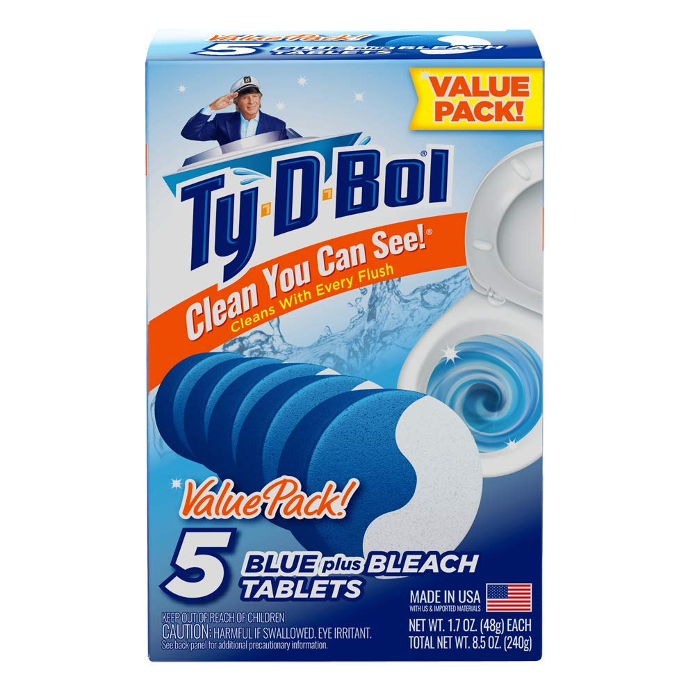 Ty-D-Bol Blue Plus Bleach Tablets Value 5 Pack, Cleans and Deodorizer Toilets for a Fresh Smelling Bathroom (Pack of 10) by Ty-D-Bol