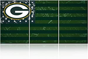 5 Piece Canvas Wall Art Green Bay Packers Pictures Stars Stripes Paintings Home Modern Decor American Football Artwork Living Room House Decoration Framed Ready to Hang Poster and Prints(48'W x 24''H)