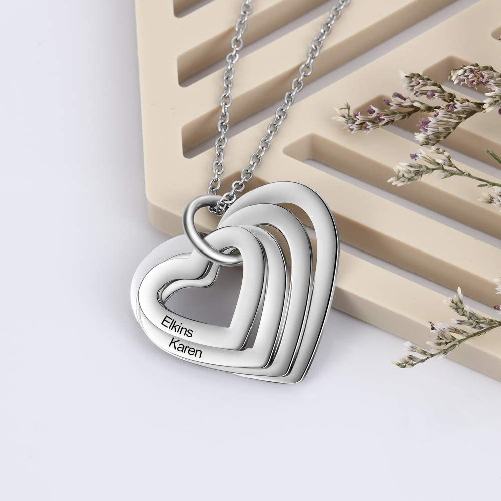 2 x corazón cadena plata colgante collar día de la madre regalo joyas hija nuevo