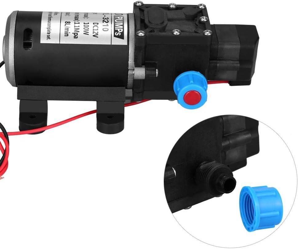 Pompe de pression de diaphragme de leau 12V DC 100W 8L Pompe /à Eau Haute Pression Min pompe /à eau auto-amor/çante /à haute pression de 160 psi avec diaphragme pour bateau de p/êche marin de caravane