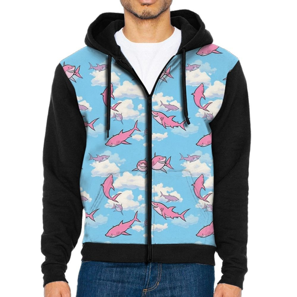 SESY Mens Hoodie Long Sleeve Sweatshirt Flying Sharks Cool Printed Hooded Pullover Pocket Black