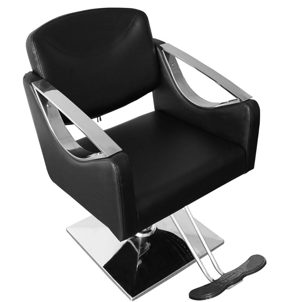 Black Heavy Duty Stylish Hydraulic Barber Chair -Beauty Spa Hair Salon Chair with Square Qivange