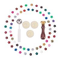 PandaHall Elite - Lot de 1 Set Outil de DIY Bougie avec Bougies Cuillère en Acier Inoxydable Timbre en Bois et Perles de Cire en Forme d'Etoile, Couleur Melangee, 150x110x40mm