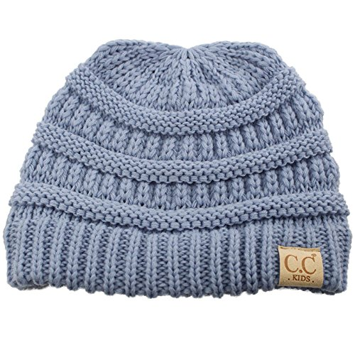 (Kids Ages 2-7 Warm Chunky Thick Stretchy Knit Slouch Beanie Skull Hat Denim )