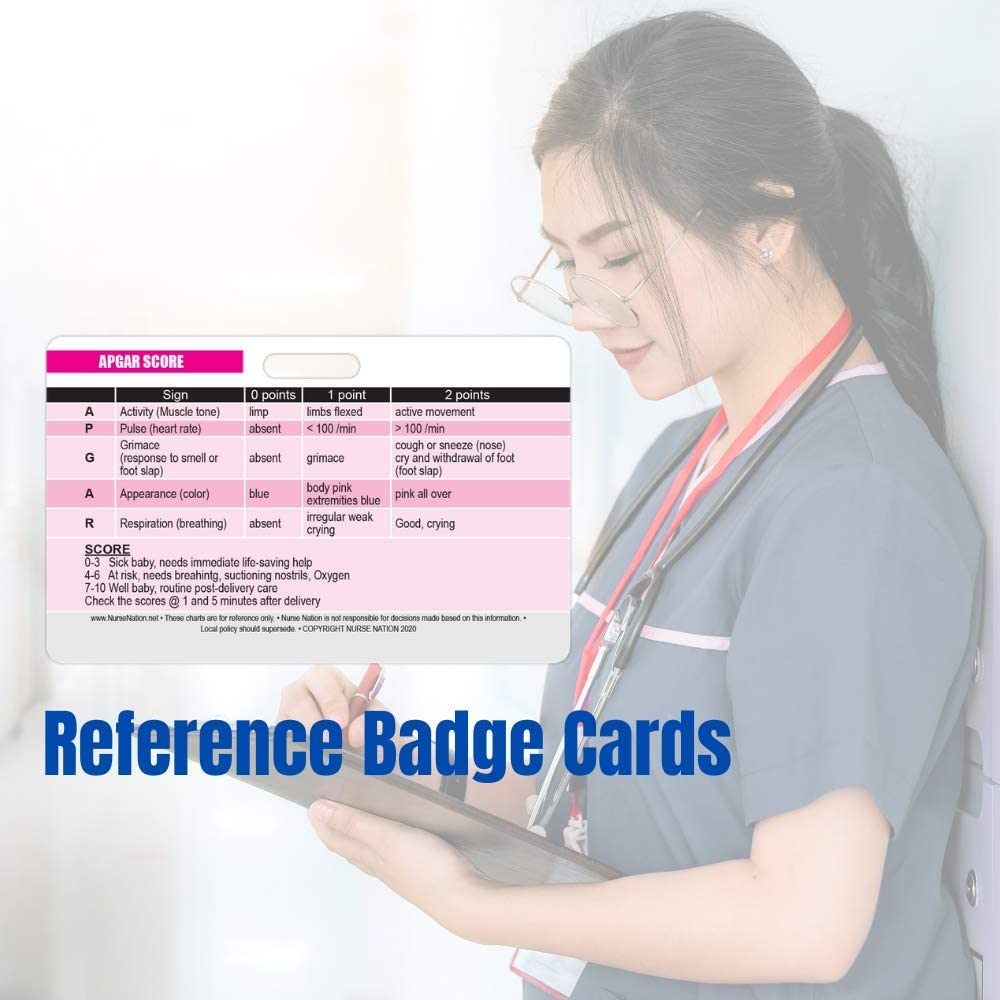 Great Nursing School Supplies and Accessories Nursing Clinicals Excellent Resource for Nurses APGAR Score Reference and Newborn Assessment Horizontal Badge Card and RN Students