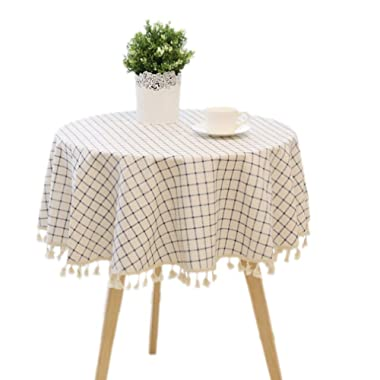 LUCKYHOUSEHOME Check Plaid Cotton Linen Round Tablecloth Tassel Table Cover for Kitchen Home Dinning Approx 60 Inch, White