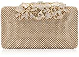 Womens Evening Bag with Flower Closure Rhinestone Crystal Clutch Purse for Wedding Party Gold